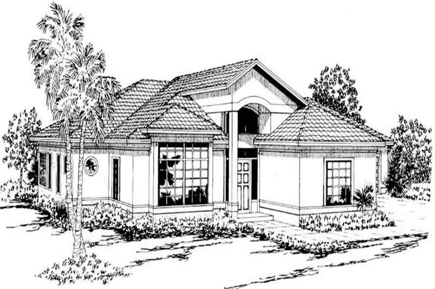3-Bedroom, 1796 Sq Ft Mediterranean House Plan - 108-1326 - Front Exterior
