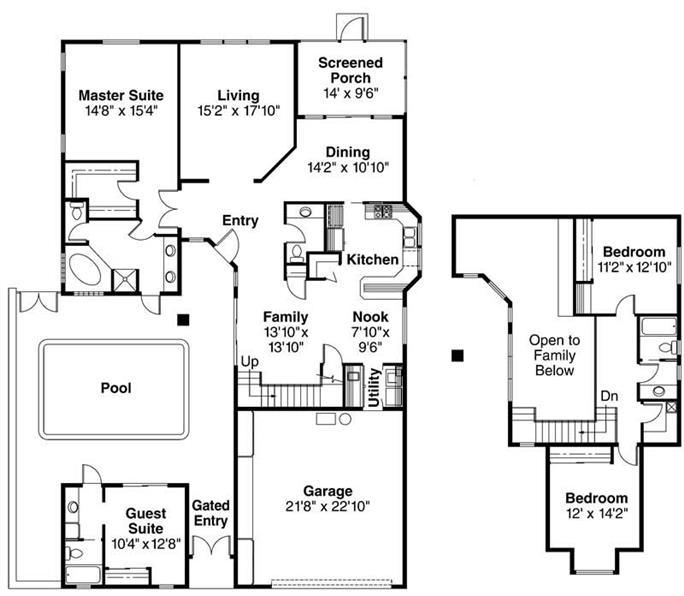 Floor plans with separate guest house for House plans with separate guest house