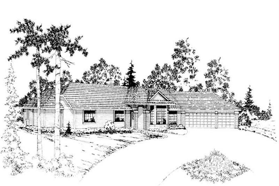 3-Bedroom, 2649 Sq Ft Ranch Home Plan - 108-1331 - Main Exterior