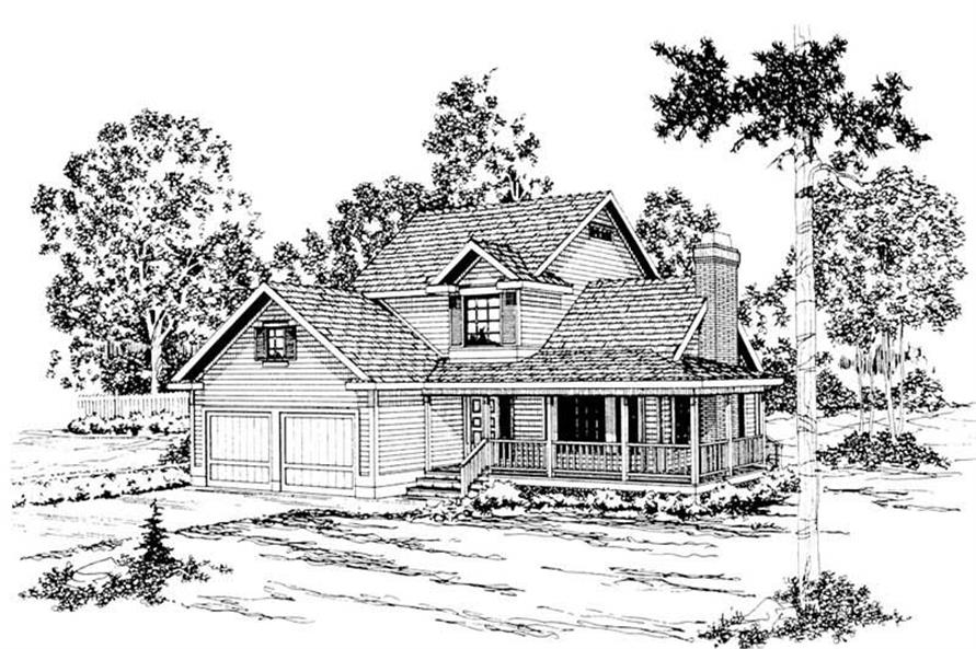 3-Bedroom, 1645 Sq Ft Country Home Plan - 108-1338 - Main Exterior