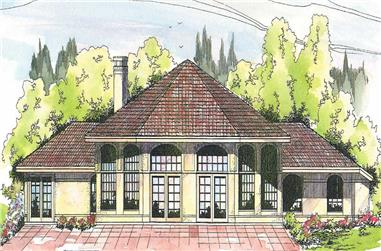 Front elevation of Vacation Homes home (ThePlanCollection: House Plan #108-1350)