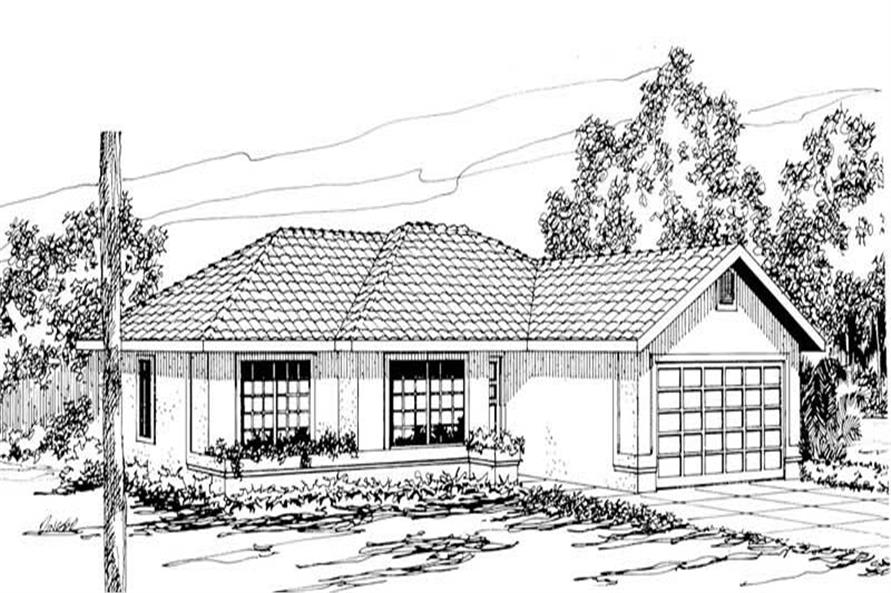 3-Bedroom, 1493 Sq Ft Mediterranean House Plan - 108-1351 - Front Exterior