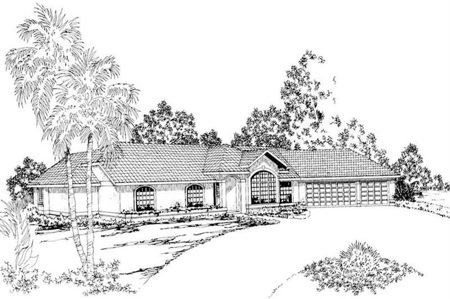3-Bedroom, 2623 Sq Ft Mediterranean House Plan - 108-1356 - Front Exterior