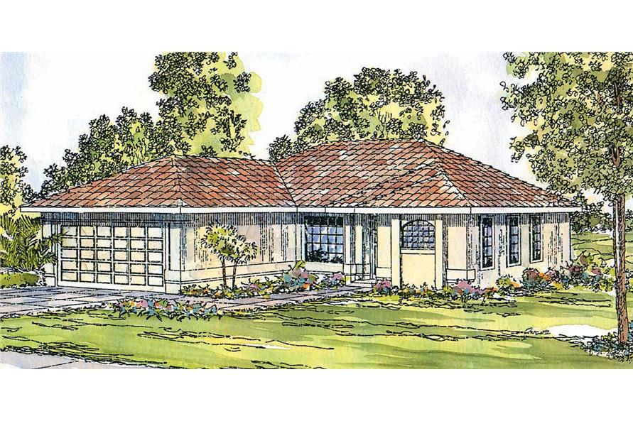 3-Bedroom, 1352 Sq Ft Mediterranean House Plan - 108-1359 - Front Exterior