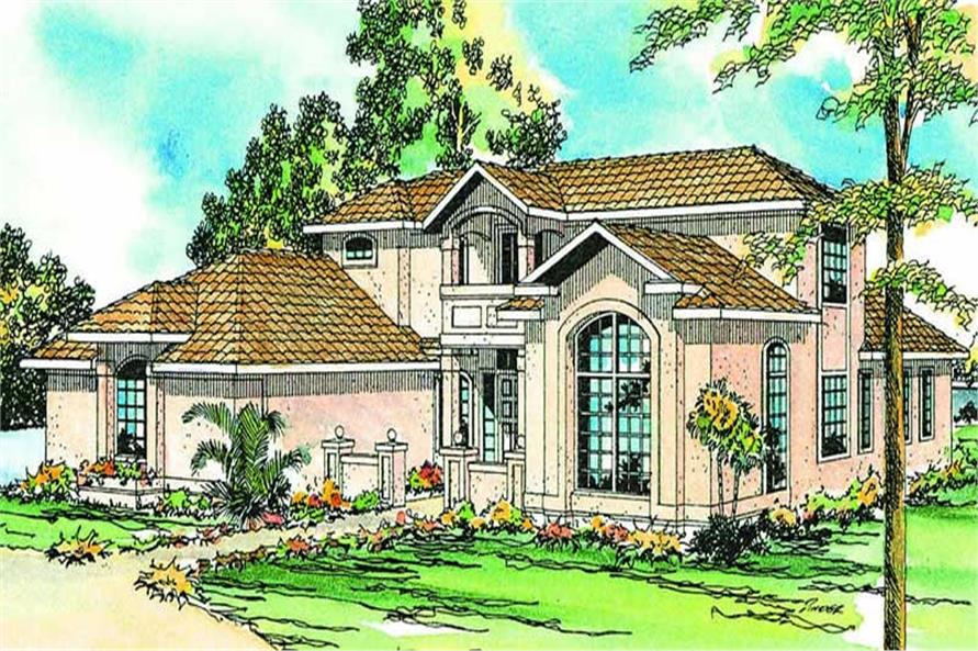 Front elevation of Florida Style home (ThePlanCollection: House Plan #108-1360)
