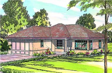 3-Bedroom, 1089 Sq Ft Mediterranean House Plan - 108-1362 - Front Exterior