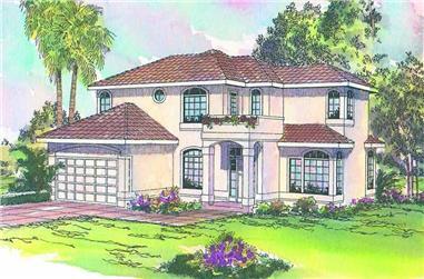 4-Bedroom, 2635 Sq Ft Mediterranean House Plan - 108-1363 - Front Exterior