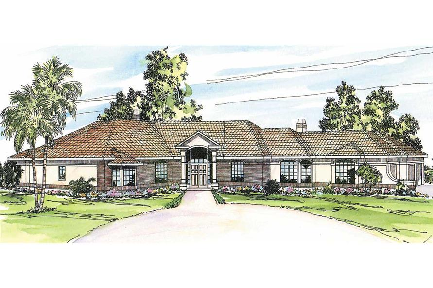 2-Bedroom, 3926 Sq Ft Mediterranean House Plan - 108-1366 - Front Exterior