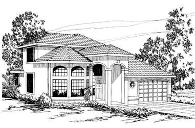 3-Bedroom, 2403 Sq Ft Mediterranean House Plan - 108-1369 - Front Exterior