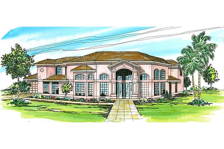 5-Bedroom, 3327 Sq Ft Mediterranean House Plan - 108-1370 - Front Exterior