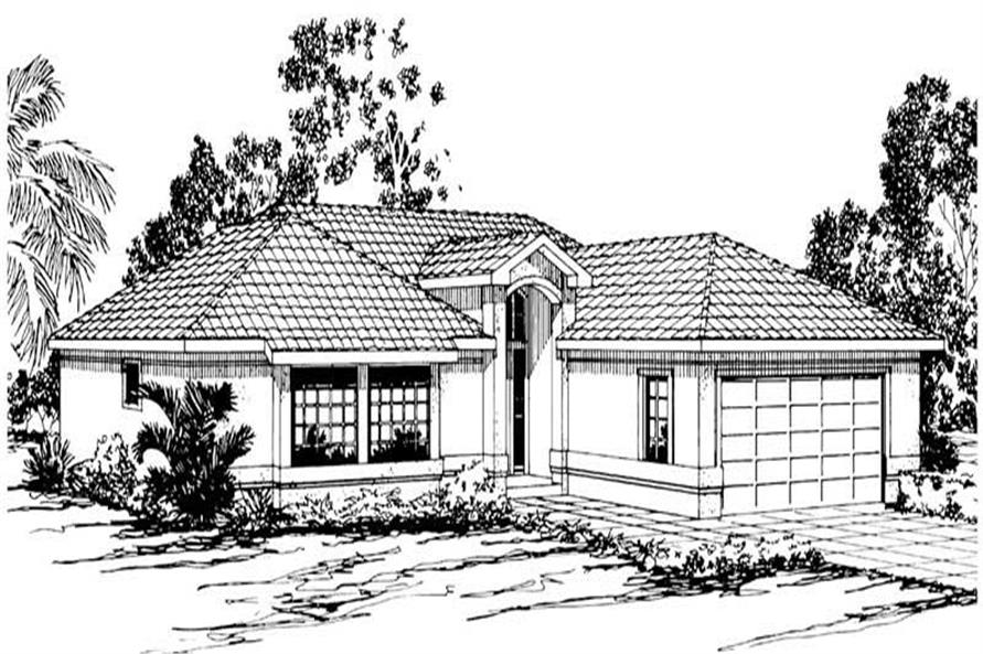 3-Bedroom, 1636 Sq Ft Mediterranean House Plan - 108-1372 - Front Exterior