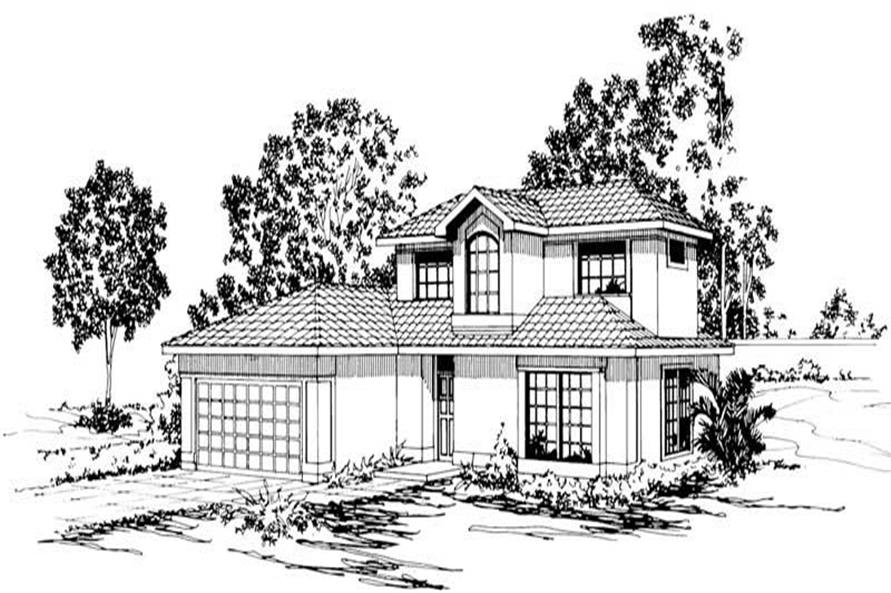 3-Bedroom, 1409 Sq Ft Mediterranean House Plan - 108-1373 - Front Exterior