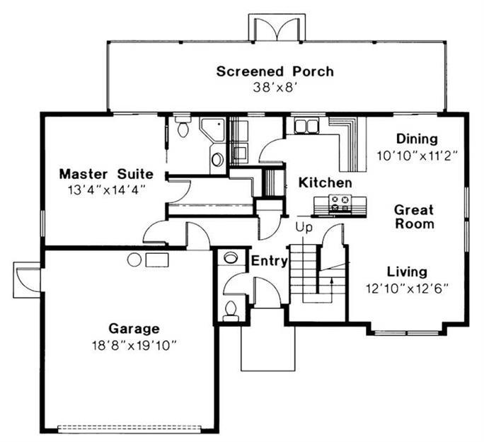 Mediterranean Home with 3 Bdrms, 1409 Sq Ft   Floor Plan #108-1373