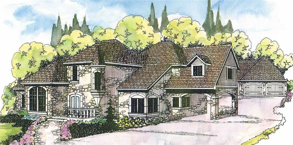 European House Plans color rendering.