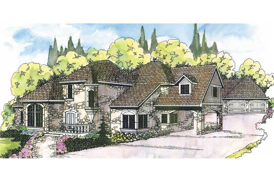 4-Bedroom, 4015 Sq Ft European House Plan - 108-1377 - Front Exterior