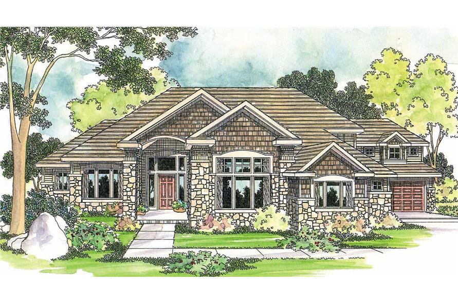 3-Bedroom, 4184 Sq Ft Contemporary House Plan - 108-1383 - Front Exterior