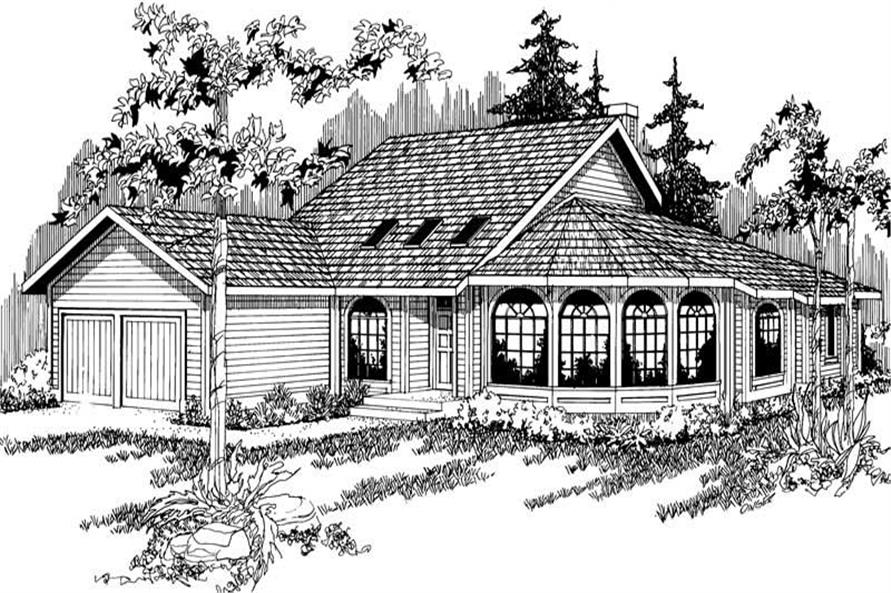3-Bedroom, 3030 Sq Ft Contemporary House Plan - 108-1386 - Front Exterior