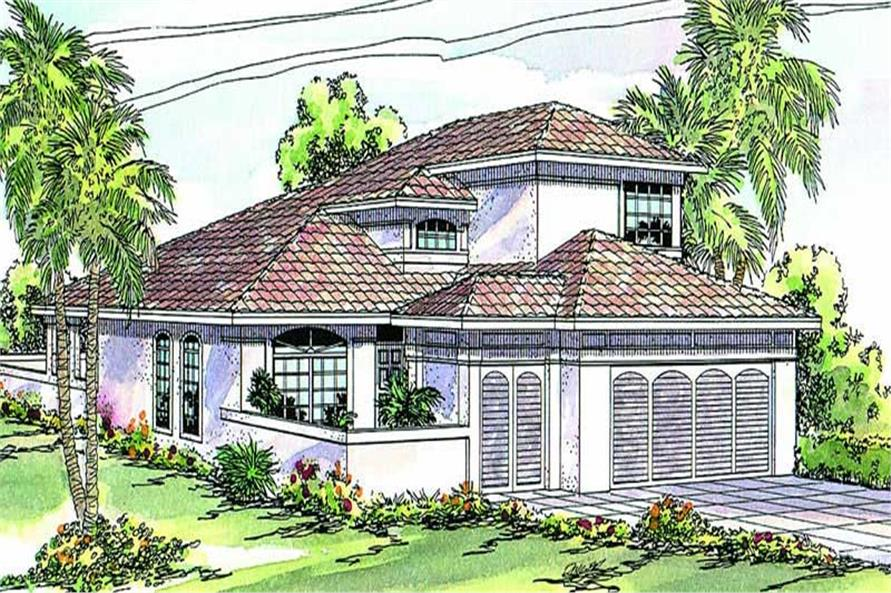 3-Bedroom, 1794 Sq Ft Mediterranean House Plan - 108-1387 - Front Exterior