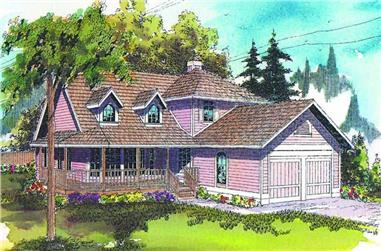 3-Bedroom, 2143 Sq Ft Country House Plan - 108-1392 - Front Exterior