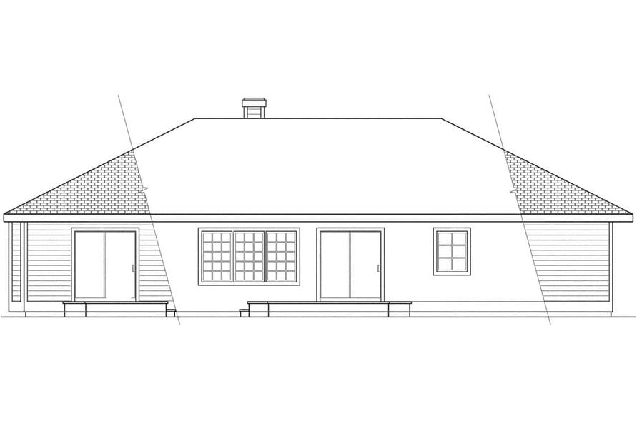 Home Plan Rear Elevation of this 3-Bedroom,2022 Sq Ft Plan -108-1395