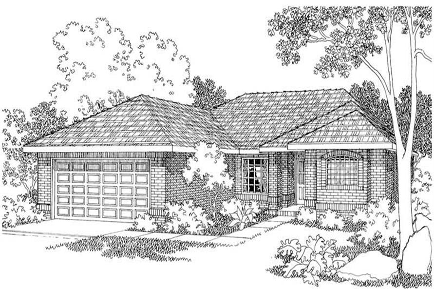 3-Bedroom, 1349 Sq Ft Contemporary House Plan - 108-1396 - Front Exterior