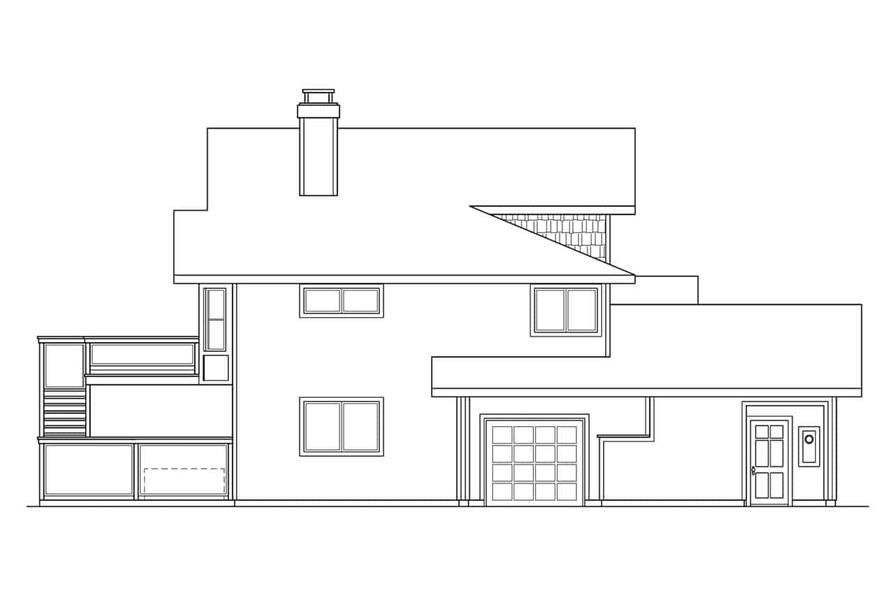 Home Plan Left Elevation of this 5-Bedroom,3141 Sq Ft Plan -108-1406
