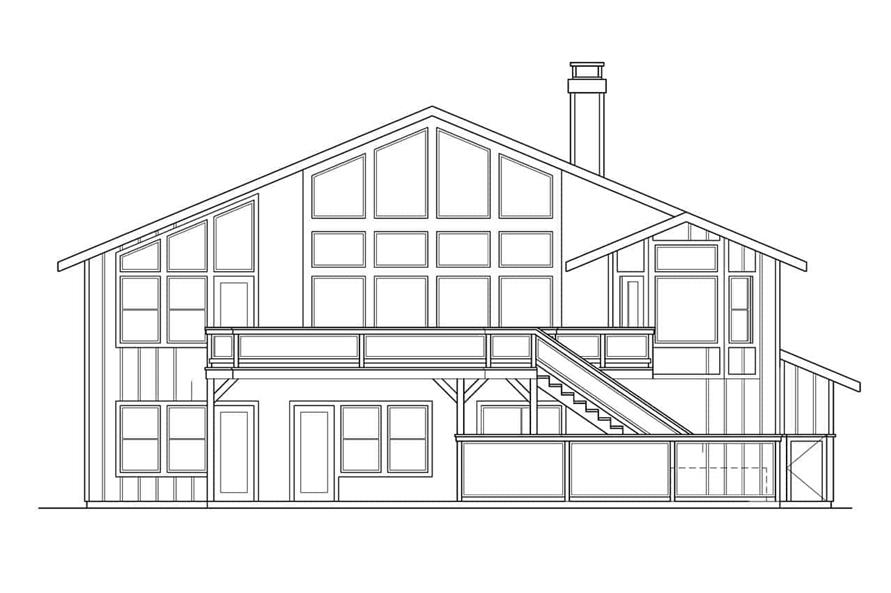Home Plan Rear Elevation of this 5-Bedroom,3141 Sq Ft Plan -108-1406