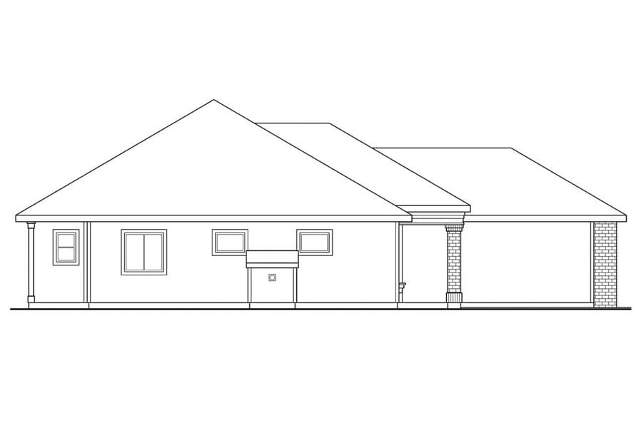 Home Plan Left Elevation of this 3-Bedroom,1348 Sq Ft Plan -108-1407