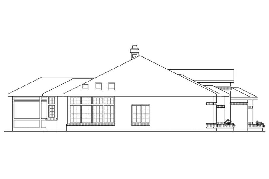Home Plan Left Elevation of this 4-Bedroom,2525 Sq Ft Plan -108-1419