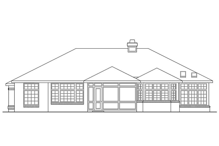 Home Plan Rear Elevation of this 4-Bedroom,2525 Sq Ft Plan -108-1419