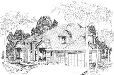 3-Bedroom, 3452 Sq Ft Transitional House Plan - 108-1420 - Front Exterior