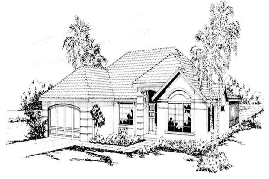 3-Bedroom, 2025 Sq Ft Mediterranean House Plan - 108-1422 - Front Exterior