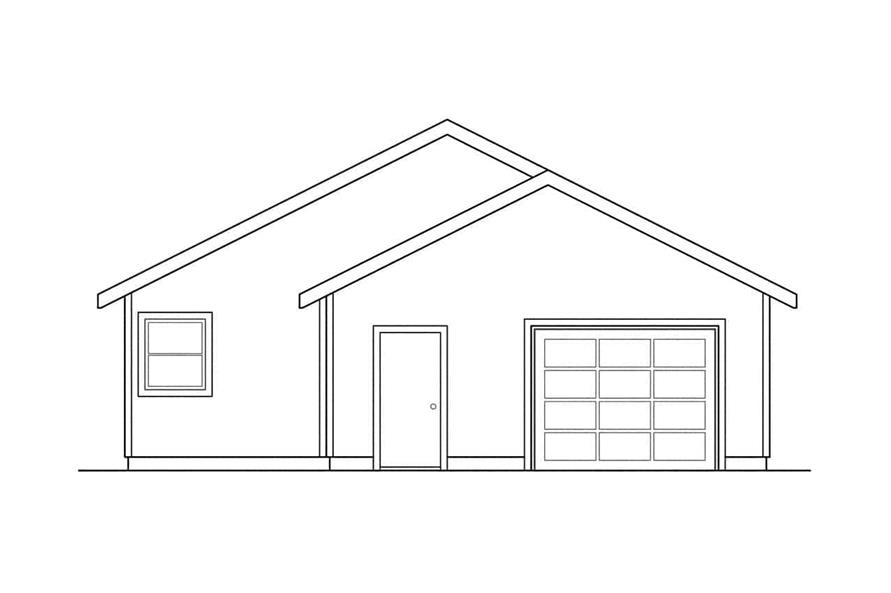 Home Plan Rear Elevation of this 3-Bedroom,1242 Sq Ft Plan -108-1426