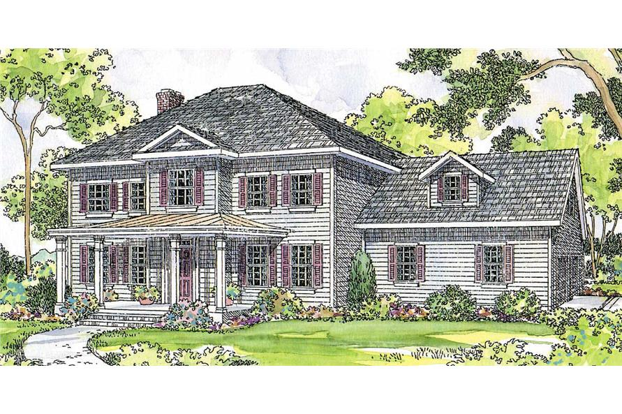 4-Bedroom, 2304 Sq Ft Colonial Home Plan - 108-1427 - Main Exterior