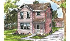 This image shows the farmhouse style for this set of house plans.