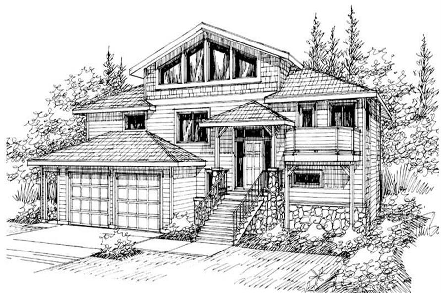 Front elevation of Contemporary home (ThePlanCollection: House Plan #108-1435)