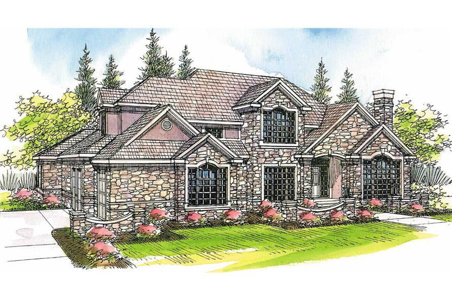 4-Bedroom, 4022 Sq Ft European House Plan - 108-1436 - Front Exterior