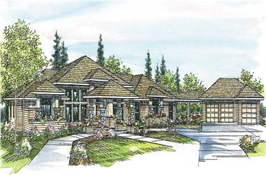 3-Bedroom, 3065 Sq Ft Contemporary House Plan - 108-1438 - Front Exterior