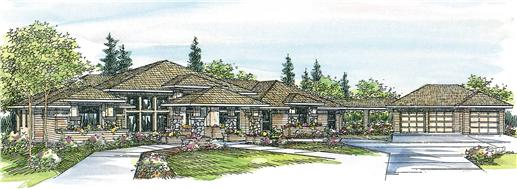 This image shows the Contemporary Style of this set of house plans.