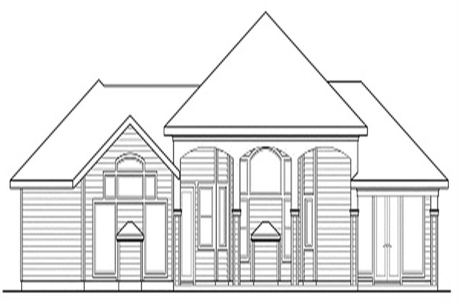 Home Plan Rear Elevation of this 3-Bedroom,3065 Sq Ft Plan -108-1438