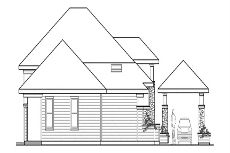 Home Plan Left Elevation of this 3-Bedroom,3065 Sq Ft Plan -108-1438