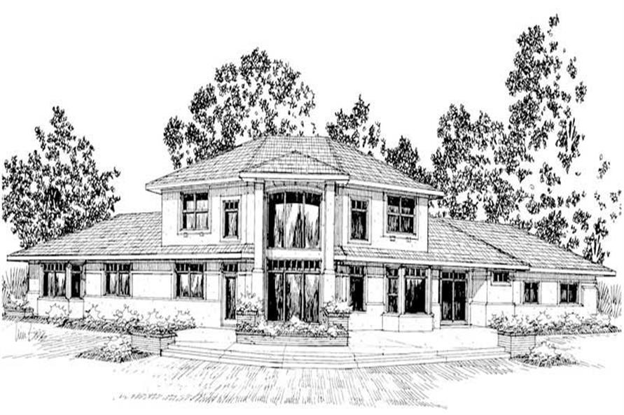 Front elevation of Contemporary home (ThePlanCollection: House Plan #108-1441)