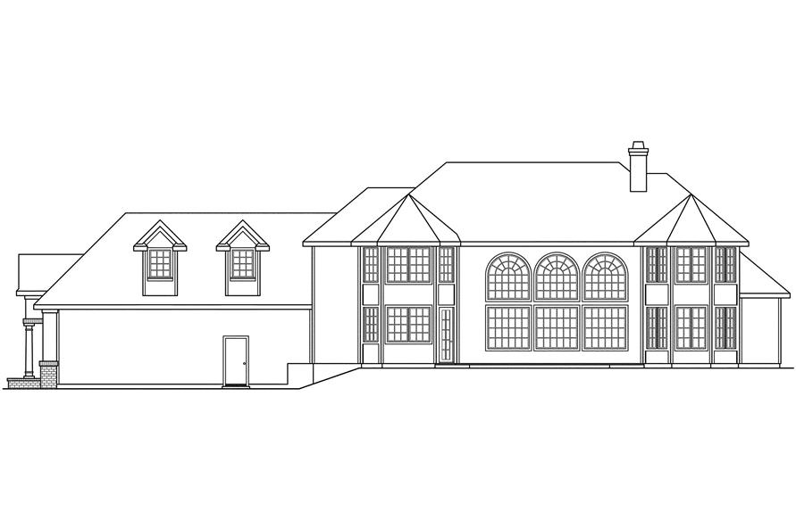 Home Plan Rear Elevation of this 3-Bedroom,4005 Sq Ft Plan -108-1443