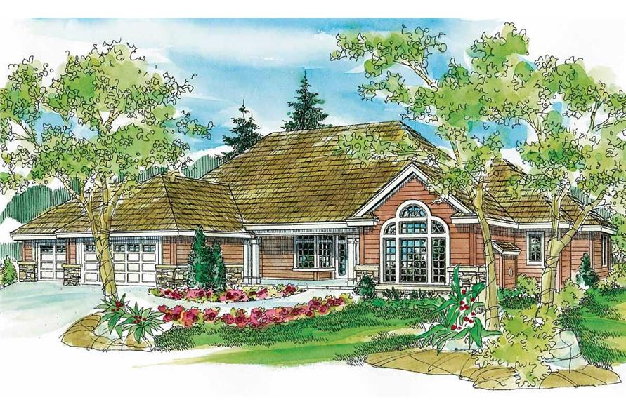 This is a colored front elevation of these European House Plans.