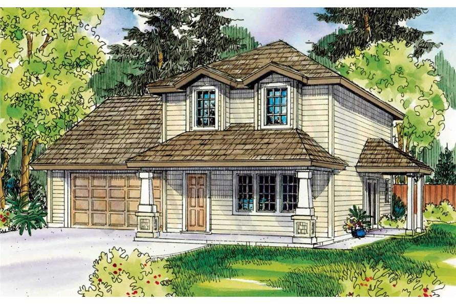 This is a colored front elevation for these traditional Homeplans.