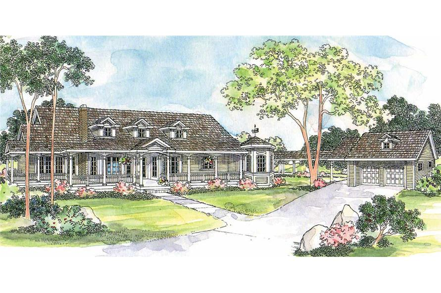 3-Bedroom, 2966 Sq Ft Country House Plan - 108-1458 - Front Exterior