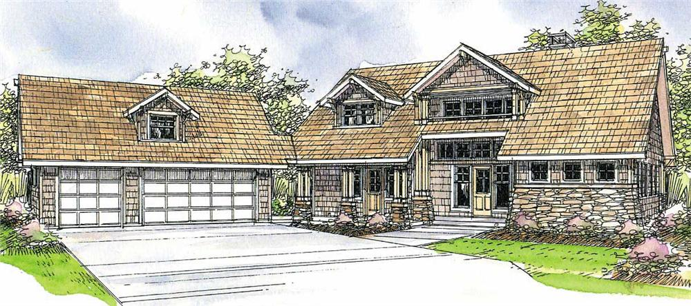 This image shows the lodge style for this set of house plans.