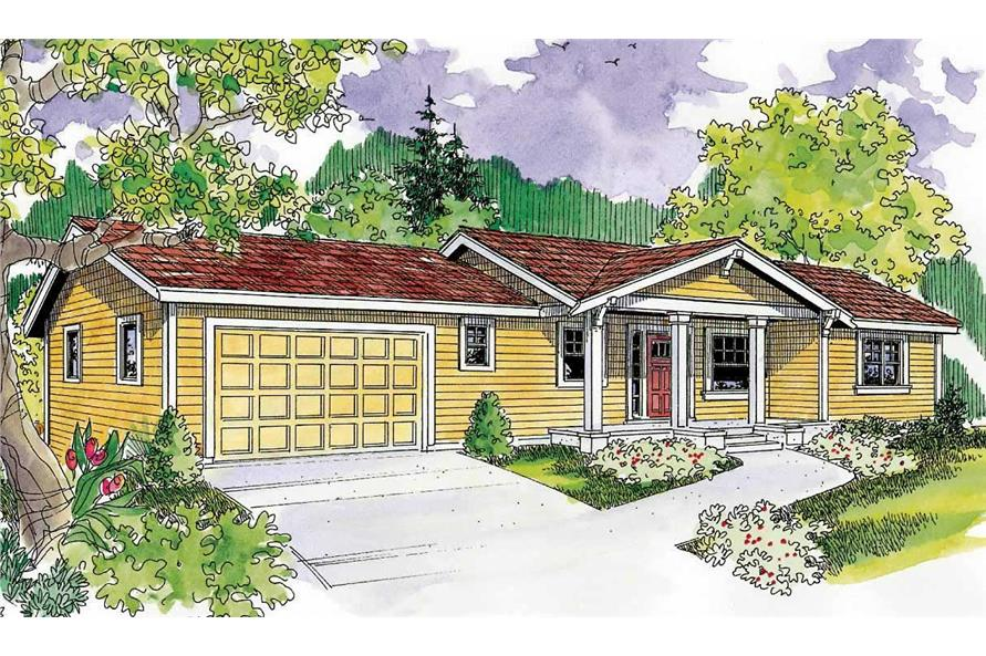 This is a colored version of the front elevation for these Ranch Homeplans.