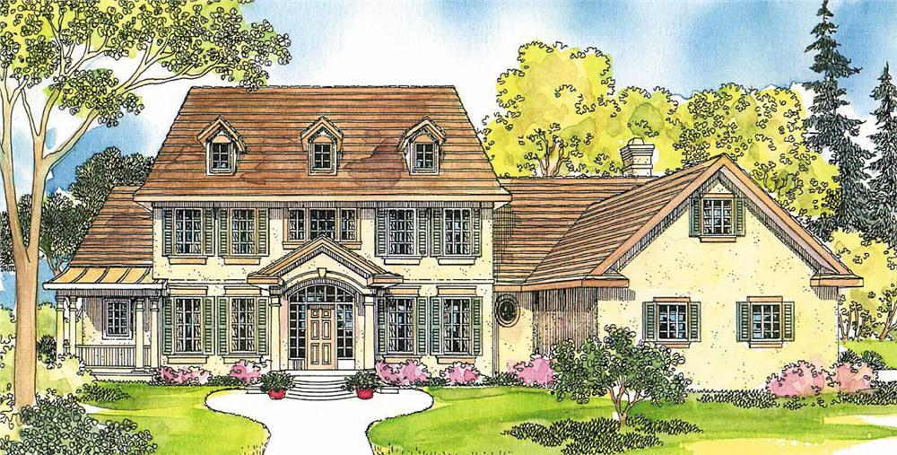 This image shows the Colonial Style for this set of house plans.
