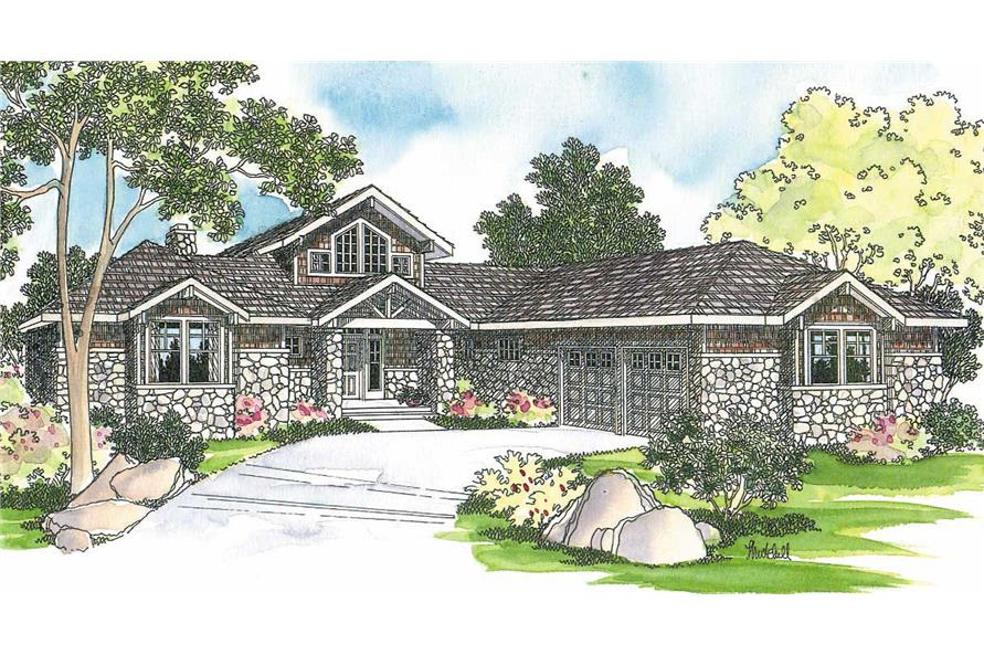 3-Bedroom, 2556 Sq Ft Ranch House Plan - 108-1469 - Front Exterior